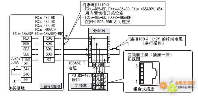 三菱plc和三菱变频器接线