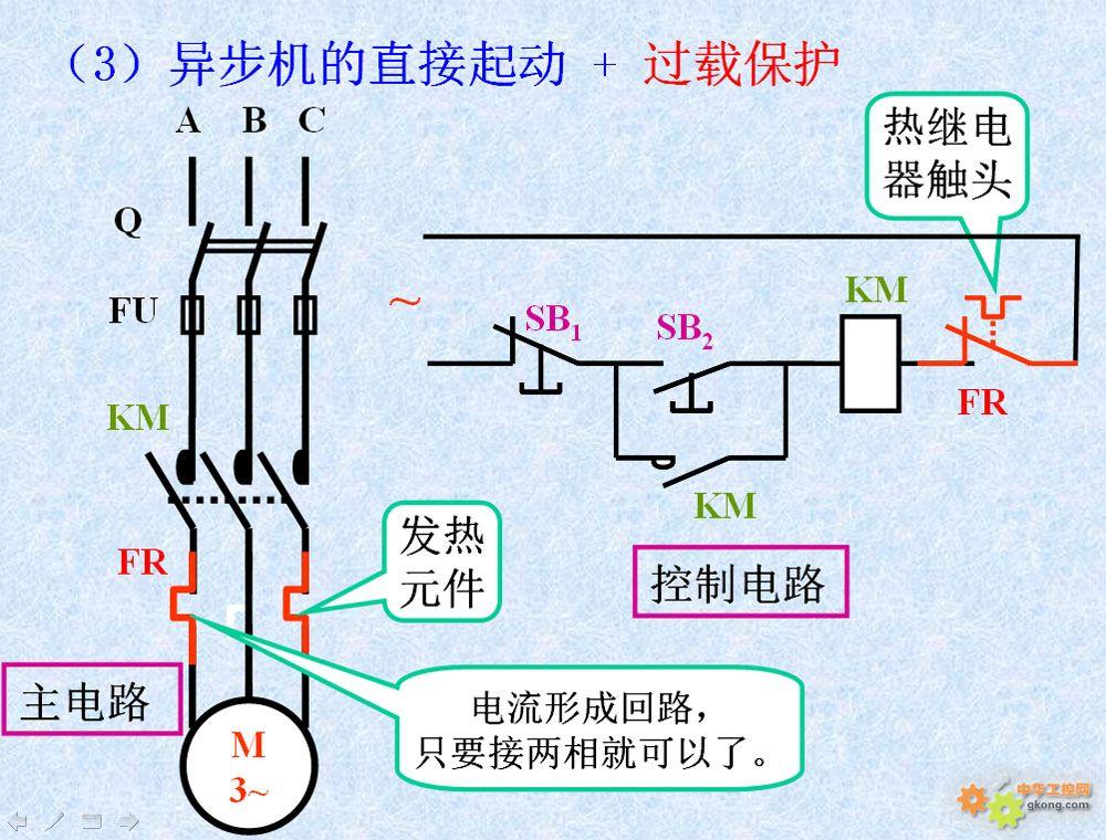 三相电机简单的控制电路(1000x760)-电工控制电路 空压机接线讲作 图片