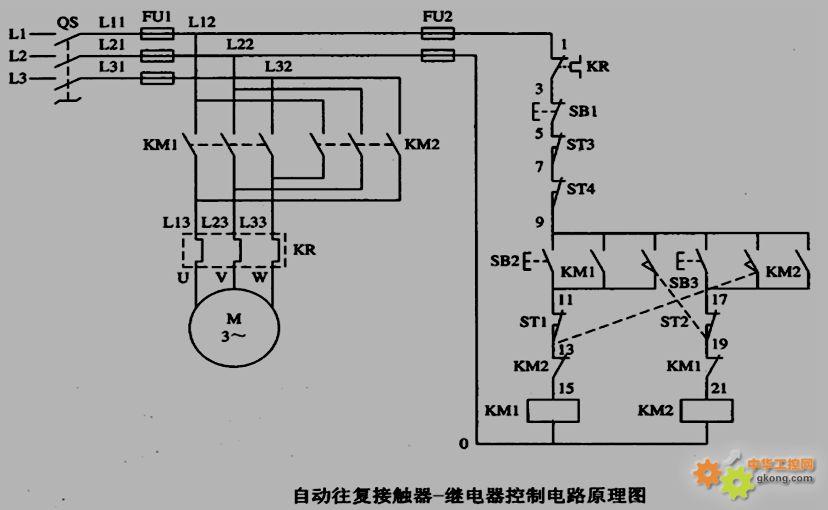 用一个三菱plc实现三相交流电机工作的自动住返控制
