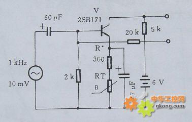 图中为采用ptc热敏电阻的晶体管放大电路.