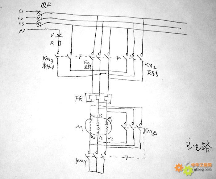 求用5只交流接触器控制电机的正反转线路 - 电工技术