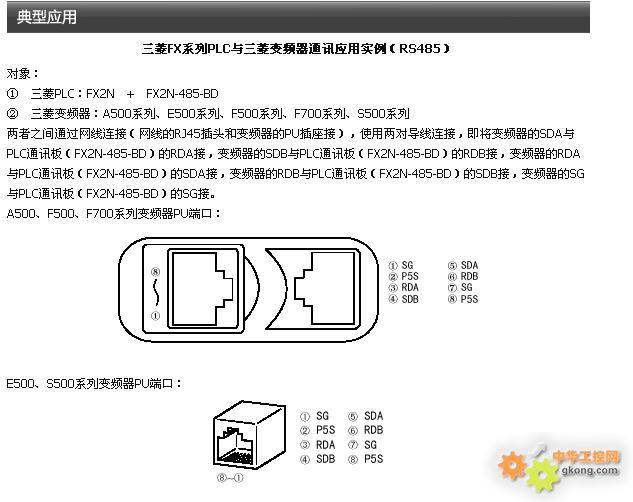 fx2n-485bd 与三菱变频器如何接线