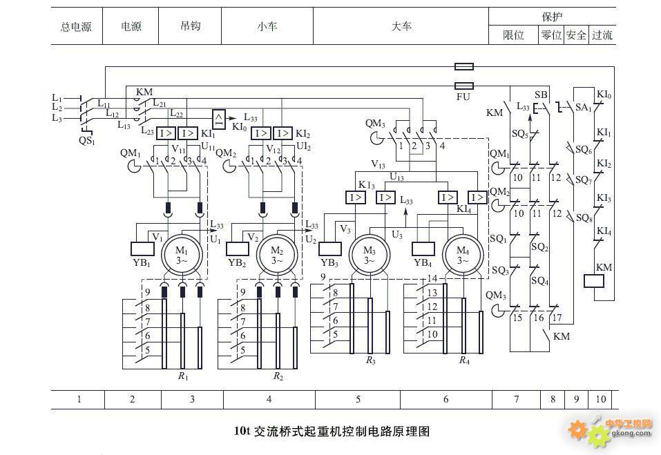 10t交流桥式起重机控制电路原理图