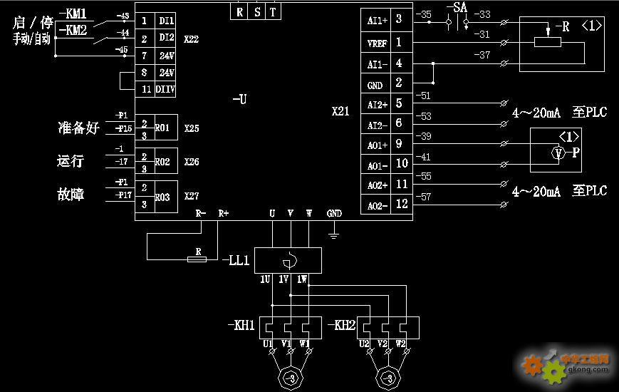 变频器一拖二台电机,怎么接线