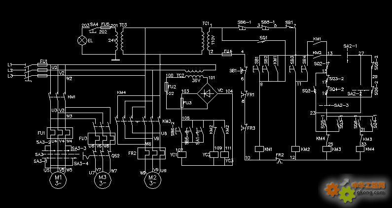 x62w型万能铣床电气原理图