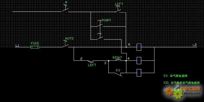 2个接近开关,2个小型继电器,通过电磁阀来控制气缸到位反复走动图片
