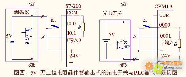 可选用无上拉电阻的pnp型晶体管输出的光电开关,就可以与plc的输入端