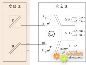 隔离栅将来自危险区的电流信号转换成电压,电流,rs485信号或开关量