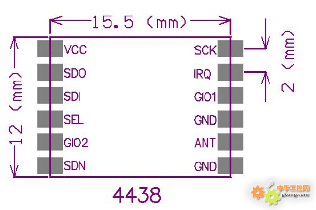 无线生产厂家直销!超小体积比一毛钱的硬币还小哦!!!可提供技术支持!!可提供例程测试!!!可提供测试架!!! 一、 基本特性 SHUTDOWN 模式下,低电流损耗 高效的4 线SPI 接口,方便寄存器配置 工作温度范围:40~+85 工作电压:1.8~ 3.6 Volts 有效频率:424~525M Hz 通信速率100~500Kbps,可编程配置 独立的64 字节RX FIFO 与TX FIFO 轻巧小体积设计,仅有1g 重 最多支持255 个信号通道,可实现跳频通信 支持WOR
